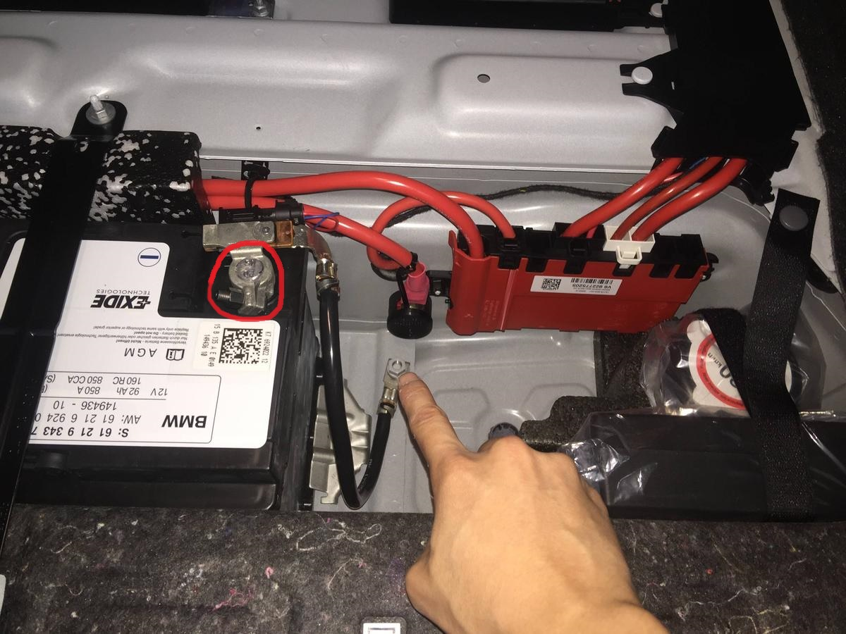 is this the negative battery cable in the trunk 2015 m235i. Black Bedroom Furniture Sets. Home Design Ideas
